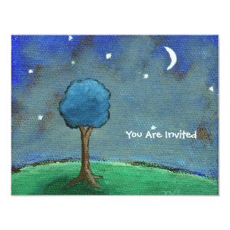 Starry Night, Abstract Landscape Tree Stars Moon 4.25x5.5 Paper Invitation Card