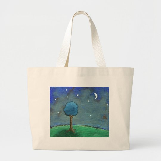 Starry Night, Abstract Landscape Tree Stars Moon Large Tote Bag