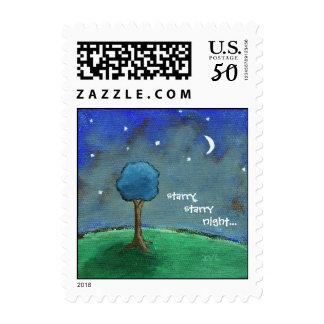 Starry Night, Abstract Landscape Tree Stars Moon Postage