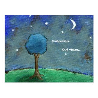 Starry Night, Abstract Landscape Tree Stars Moon Postcard