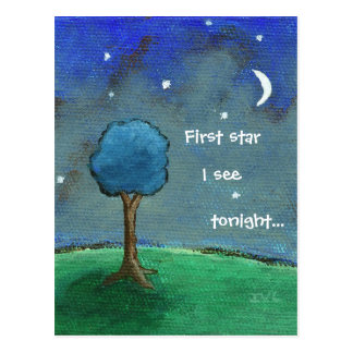 Starry Night, Abstract Landscape Tree Stars Moon Postcard