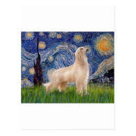 Starry Night - Afghan Hound (cream stand) Postcards