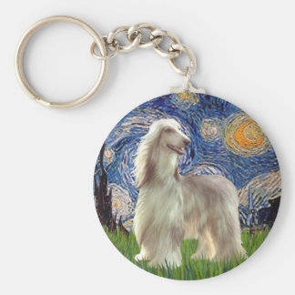 Starry Night - Afghan Hound (sable) Keychain