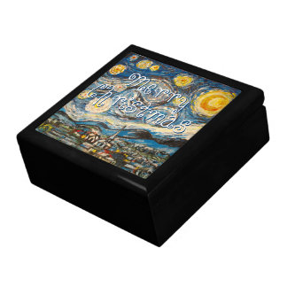 Starry Night after Vincent Van Gogh Christmas Keepsake Box