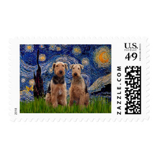 Starry Night - Airedale Terriers (two) Postage