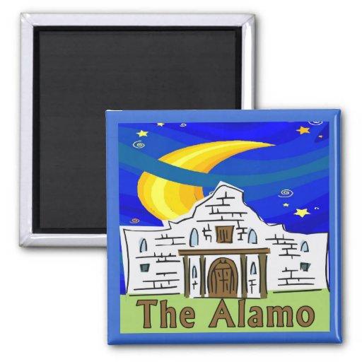 Starry Night Alamo 2 Inch Square Magnet