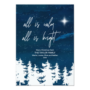 Starry Night All Is Calm All Is Bright Christmas Card at Zazzle