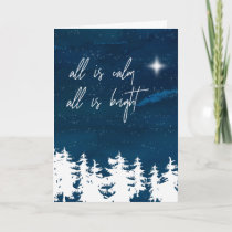Starry Night All Is Calm All Is Bright Christmas Holiday Card