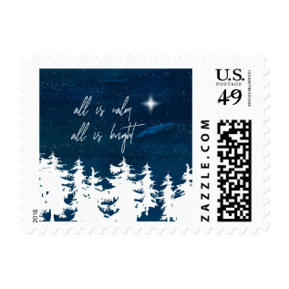 Starry Night All Is Calm All Is Bright Christmas Postage at Zazzle