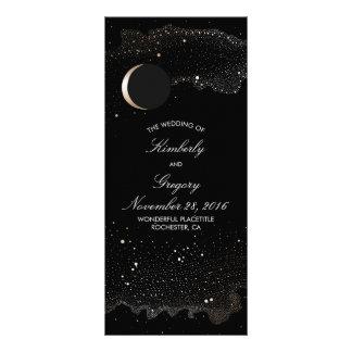 Starry Night and Gold Moon Black Wedding Programs