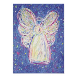 Starry Night Angel Art Print Poster