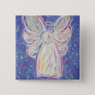 Starry Night Angel Button (square)