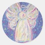 Starry Night Angel Classic Round Sticker