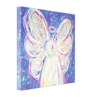 Starry Night Angel Painting Wrapped Canvas Art