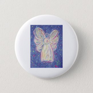 Starry Night Angel Pinback Button