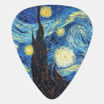 Starry Night Art Guitar Pick by 13MoonshineDesigns at Zazzle