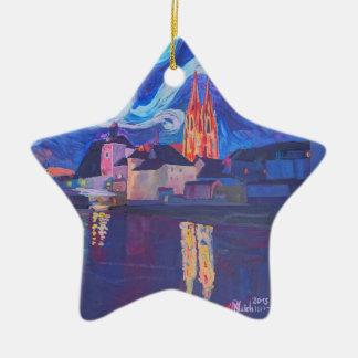Starry night at Regensburg Ceramic Ornament