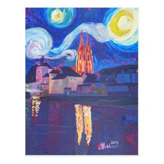 Starry night at Regensburg Postcard