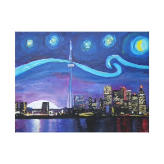 Starry night at Toronto skyline in Canada Canvas Print