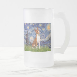 Starry Night - Basenji Frosted Glass Beer Mug