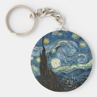 Starry Night Basic Round Button Keychain