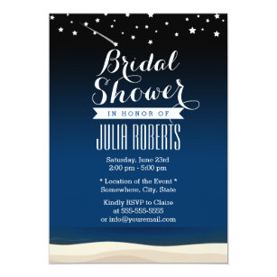 starry night beach bridal shower invitations