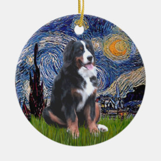 Starry Night - Bernese Mountain Dog (L) Ceramic Ornament