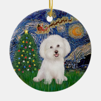 Starry Night - Bichon Frise #7 Ceramic Ornament