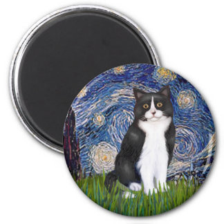 Starry Night - Black and White Cat 2 Inch Round Magnet