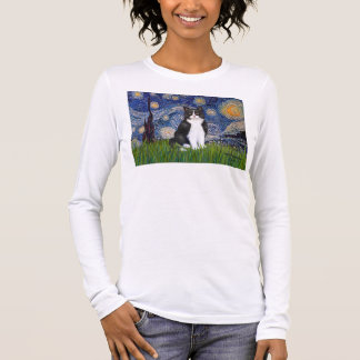 Starry Night - Black and White Cat Long Sleeve T-Shirt