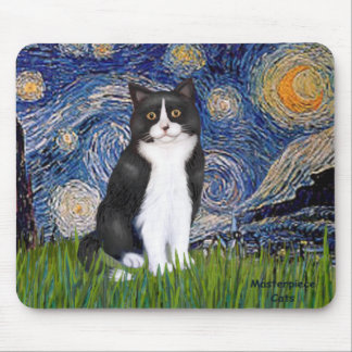 Starry Night - Black and White Cat Mouse Pad
