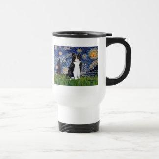 Starry Night - Black and White Cat Coffee Mug