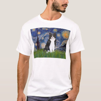 Starry Night - Black and White Cat T-Shirt
