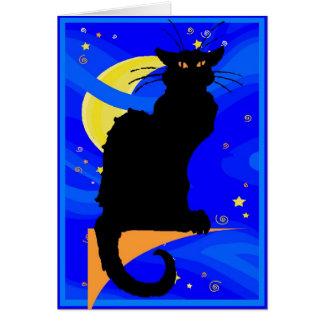 Starry Night Black Cat Greeting Cards