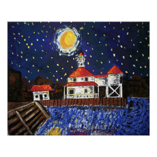 Starry Night Black Lighthouse Poster