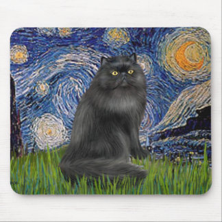 Starry Night - Black Persian cat Mouse Pad