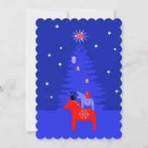 Starry Night Blue Horse Cats and Tree Holiday Card