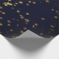 Starry Night Blue Navy Forest Gold Confetti Wrapping Paper