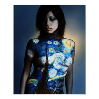 Starry Night Body Painting CC-ASA Poster