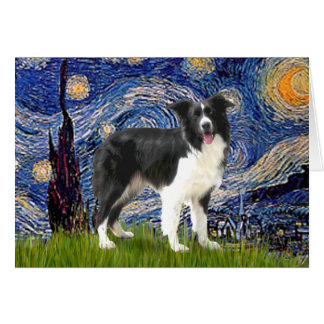 Starry Night - Border Collie (Z) Greeting Card