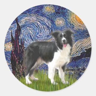 Starry Night - Border Collie (Z) Classic Round Sticker