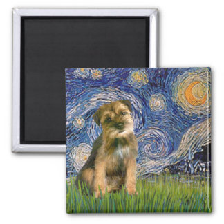 Starry Night - Border Terrier #1 2 Inch Square Magnet