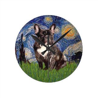 Starry Night - Brindle French Bulldog Round Wall Clocks