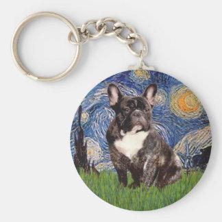 Starry Night - Brindle French Bulldog Keychain