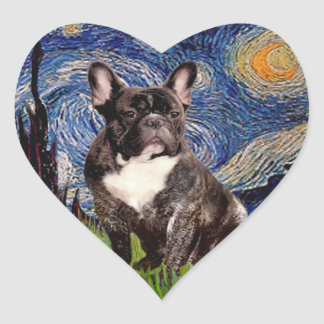 Starry Night - Brindle French Bulldog Stickers