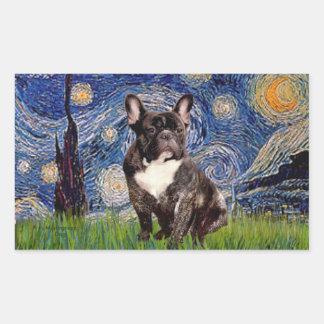 Starry Night - Brindle French Bulldog Rectangular Stickers