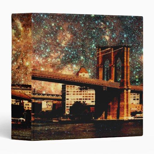 "Starry Night Brooklyn Bridge 1.5"" Photo Album 3 Ring Binder"