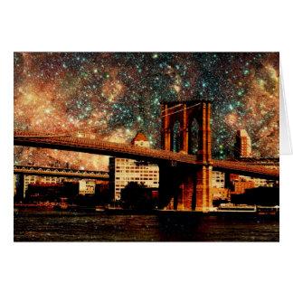 starry night Brooklyn Bridge Greeting Card