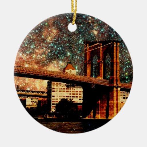 Starry Night Brooklyn Bridge Double-Sided Ceramic Round Christmas Ornament