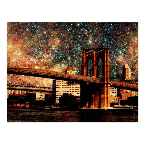 starry night Brooklyn Bridge Postcard